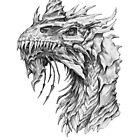 Dark Side Armored Dragon portrait | Graphite Pencil art by Tatiana Yamshanova