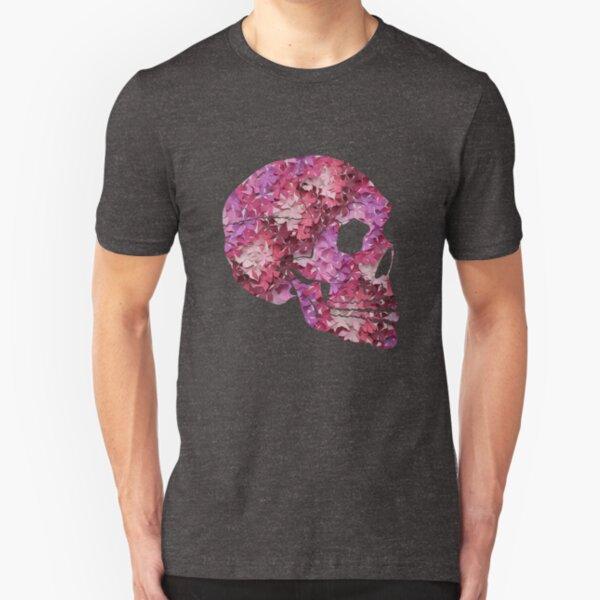 Flower Skull Pink Slim Fit T-Shirt