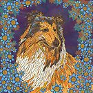 Rough Collie and Blue Flowers by lottibrown