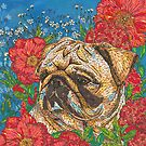 Pug in Peonies by lottibrown