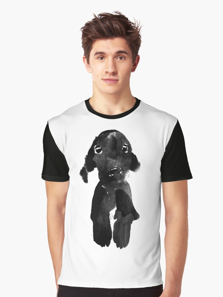 black dog Graphic T-Shirt Front