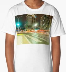 """Avenida del Libertador"" - Buenos Aires Night Light Trails Long T-Shirt"