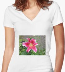 Blooming Beauty Women's Fitted V-Neck T-Shirt