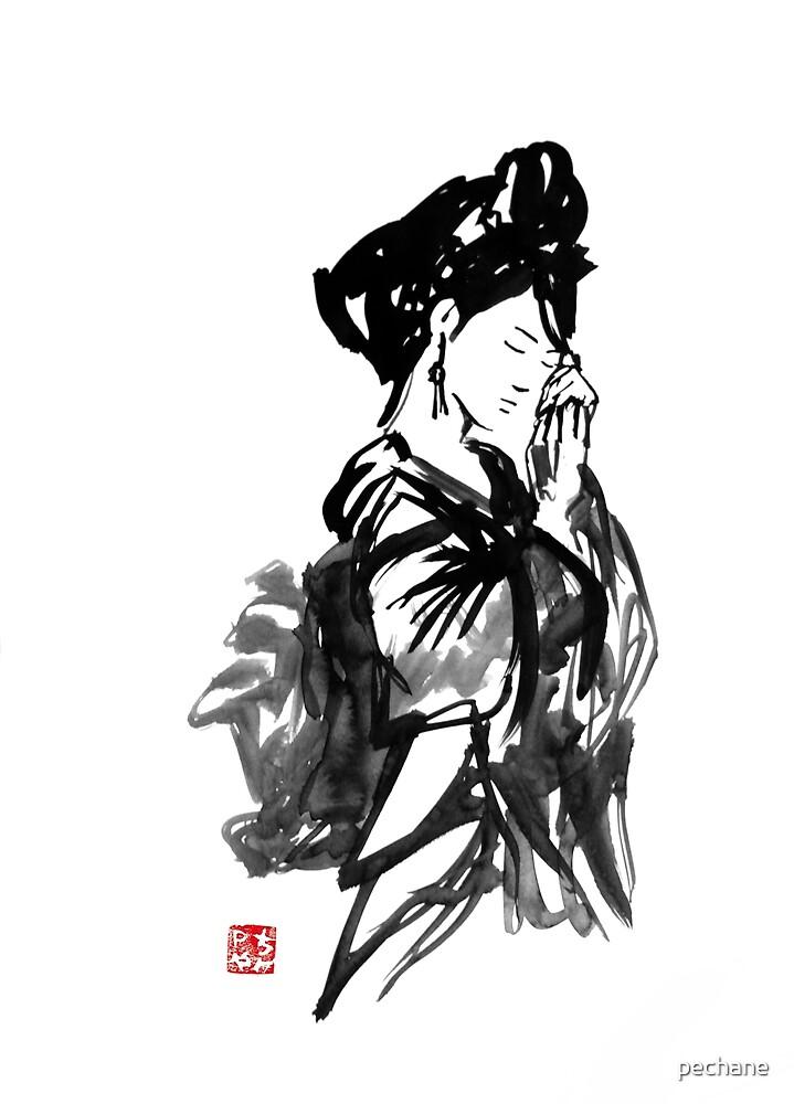 thinking geisha by pechane