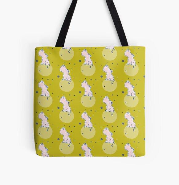 Nilpferd, Flusspferd - grün gemustert Allover-Print Tote Bag