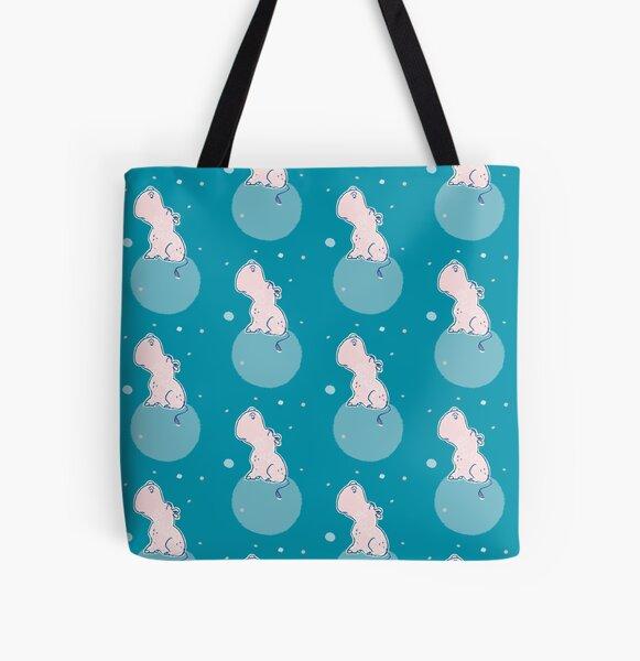 Nilpferd, Flusspferd - blau gemustert Allover-Print Tote Bag