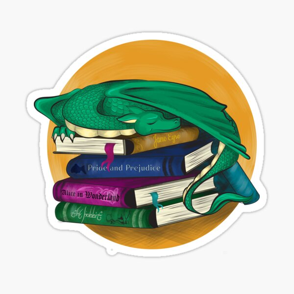 Dragon on a pile of books Sticker