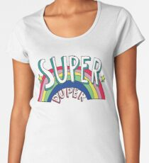 Super Duper Hand Drawn Seventies Style Rainbow Graphic Women's Premium T-Shirt