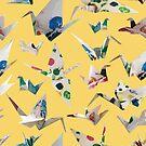 Paper Cranes Lemon by design-r