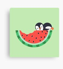 Watermelon Bite With Penguin Canvas Print