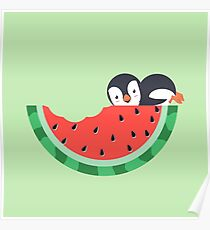 Watermelon Bite With Penguin Poster