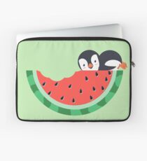 Watermelon Bite With Penguin Laptop Sleeve
