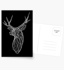 3D White Line Stag Deer Polygon Head Postcards