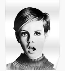 Twiggy black and white portrait Poster