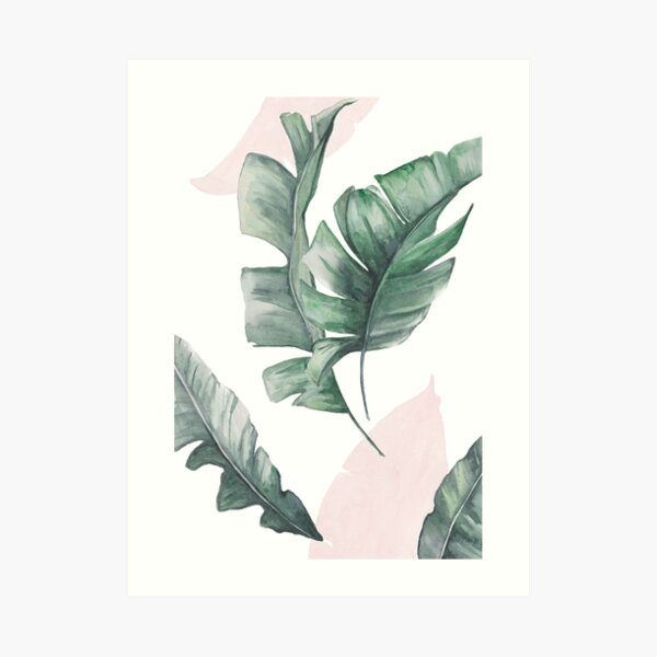 Palm leaves green and pink Art Print