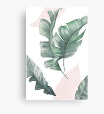 Palm leaves green and pink Metal Print