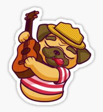 Cute Pug Playing Guitar Sticker