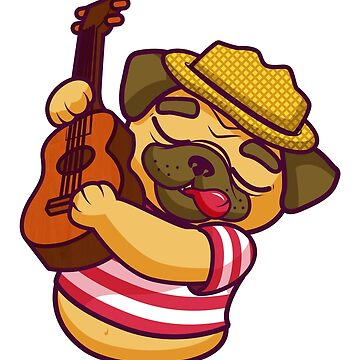 Cute Pug Playing Guitar by rott515