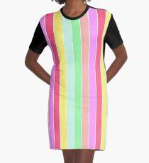 Pastel Rainbow Sorbet Deck Chair Stripes Graphic T-Shirt Dress