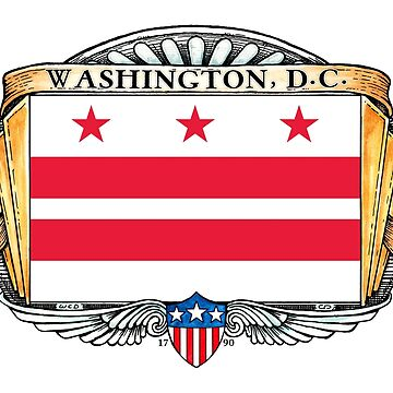 Washington D.C. Art Deco Design with Flag by Cleave