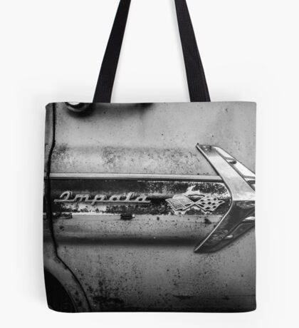 1960s Chevrolet Impala Classic Automobile Black and White Photo - Cars that I Used to Know Series  Tote Bag