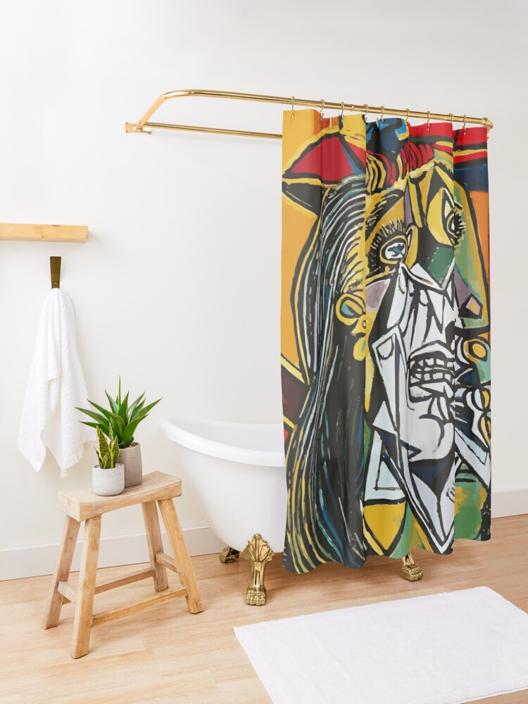 Alternate view of Pablo Picasso Crying Woman 1937 Artwork Shower Curtain
