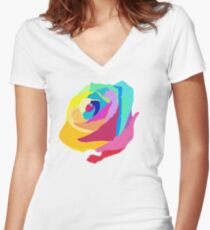 Rainbow Flower Women's Fitted V-Neck T-Shirt