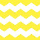 Bright Yellow and White Chevron Print by itsjensworld