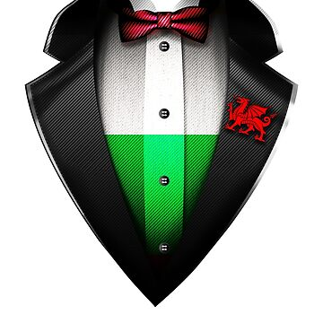 Wales Flag Welsh Roots DNA and Heritage Tuxedo by nikolayjs