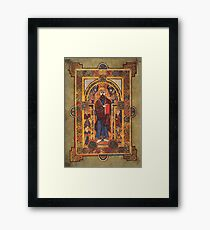 Christ Enthroned in the Book of Kells Poster Framed Print