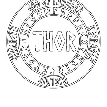 Thor Norse God with Runes God of Thunder by WarlordApparel