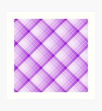 Purple Geometric Squares Diagonal Check Tablecloth Art Print