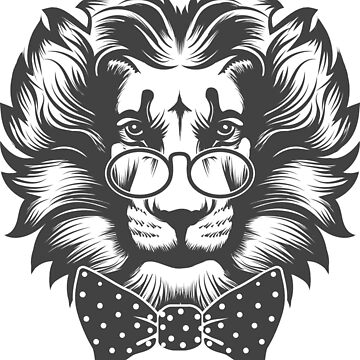 Lion Head with round glasses and bow tie by devaleta