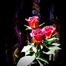 Stained Glass Red Roses 0664 by Candy Paull