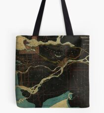 Map of Vancouver, New Westminster, Steveston and the Lower Mainland District in black and blue Tote Bag