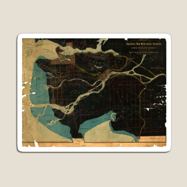 Map of Vancouver, New Westminster, Steveston and the Lower Mainland District in black and blue Magnet