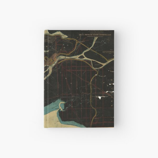Map of Vancouver, New Westminster, Steveston and the Lower Mainland District in black and blue Hardcover Journal