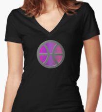 PISCIS SYMBOL SHIELD Women's Fitted V-Neck T-Shirt