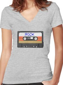 Rock and Roll music cassette Women's Fitted V-Neck T-Shirt
