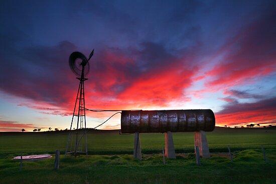 Windmill Sunrise, Central Victoria, Australia by Michael Boniwell