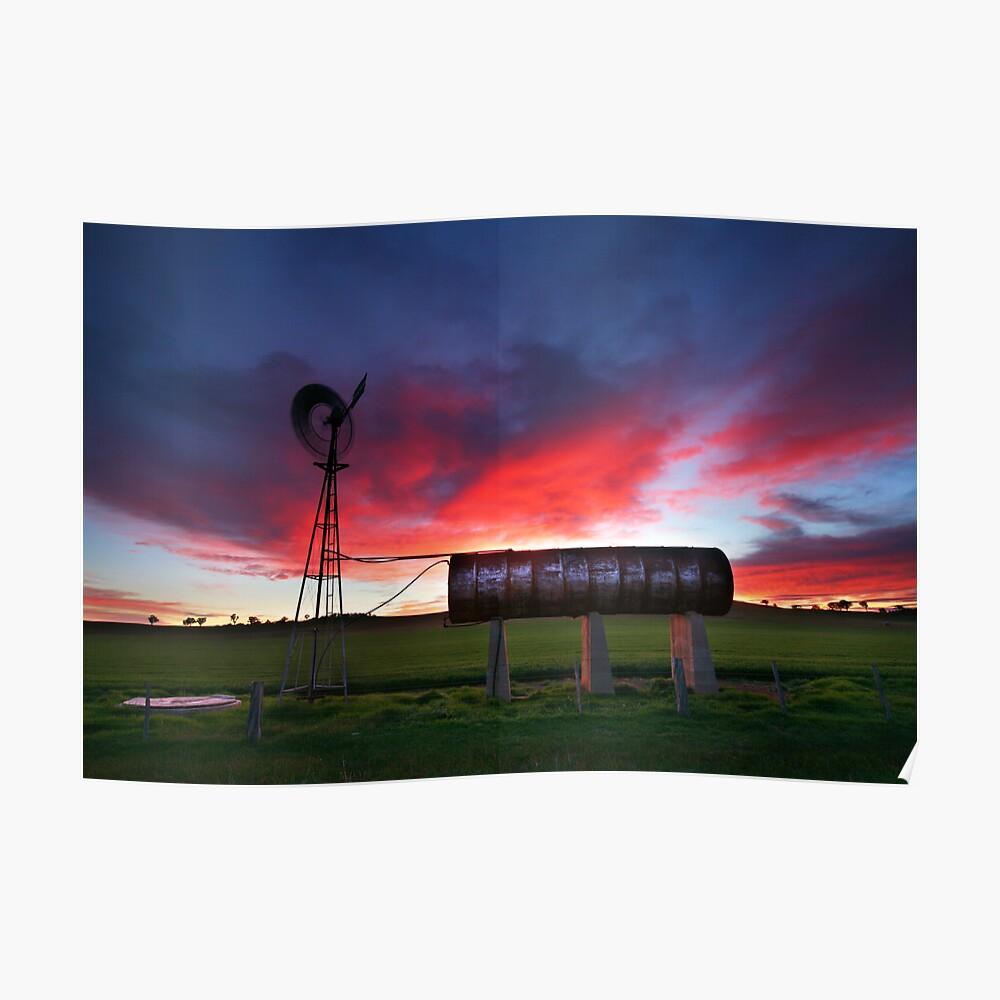 Windmill Sunrise, Central Victoria, Australia Poster