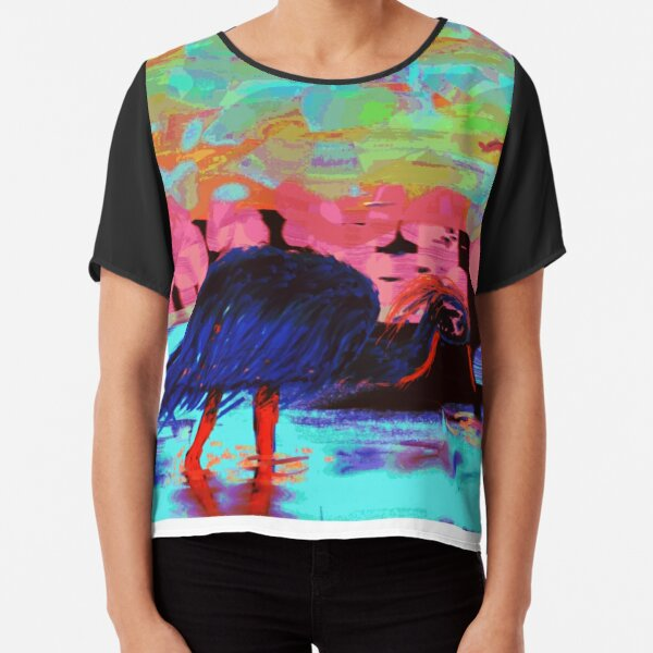 Impress Sun on the Water Hunter at Dusk by Green Bee Mee Chiffon Top