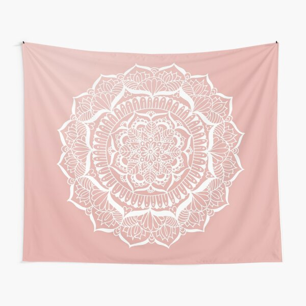 White Flower Mandala on Rose Gold Tapestry