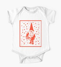 Red Tomte Gnome Nisse Gott Jul Sterne Red Christmas Baby Body Kurzarm