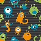 Monsters on a Gray Background by Pamela Maxwell
