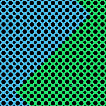 Blue Green Black Dot Color Block by loeye