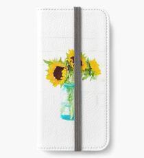 Sonnenblumen in einem Vintage Blue Mason Jar iPhone Flip-Case/Hülle/Klebefolie