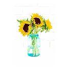 Sunflowers in a Vintage Blue Mason Jar by Ann Drake