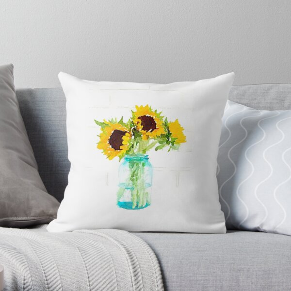 Sunflowers in a Vintage Blue Mason Jar Throw Pillow