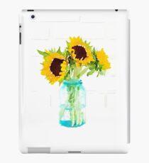 Sunflowers in a Vintage Blue Mason Jar iPad Case/Skin